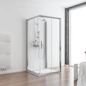 Paroi de douche en U avec porte coulissante, porte 80 à 120 cm, paroi latérale 30 à 140 cm, 2 éléments + paroi latérale
