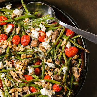 Roasted Green Beans With Tiny Tomatoes & Bleu Cheese.