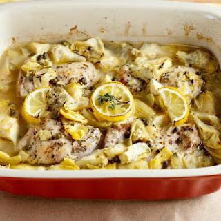 Baked Lemon Artichoke Chicken Piccata.