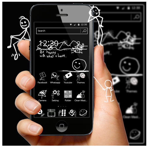 Black and White Blackboard Theme app (apk) free download for Android/PC/Windows