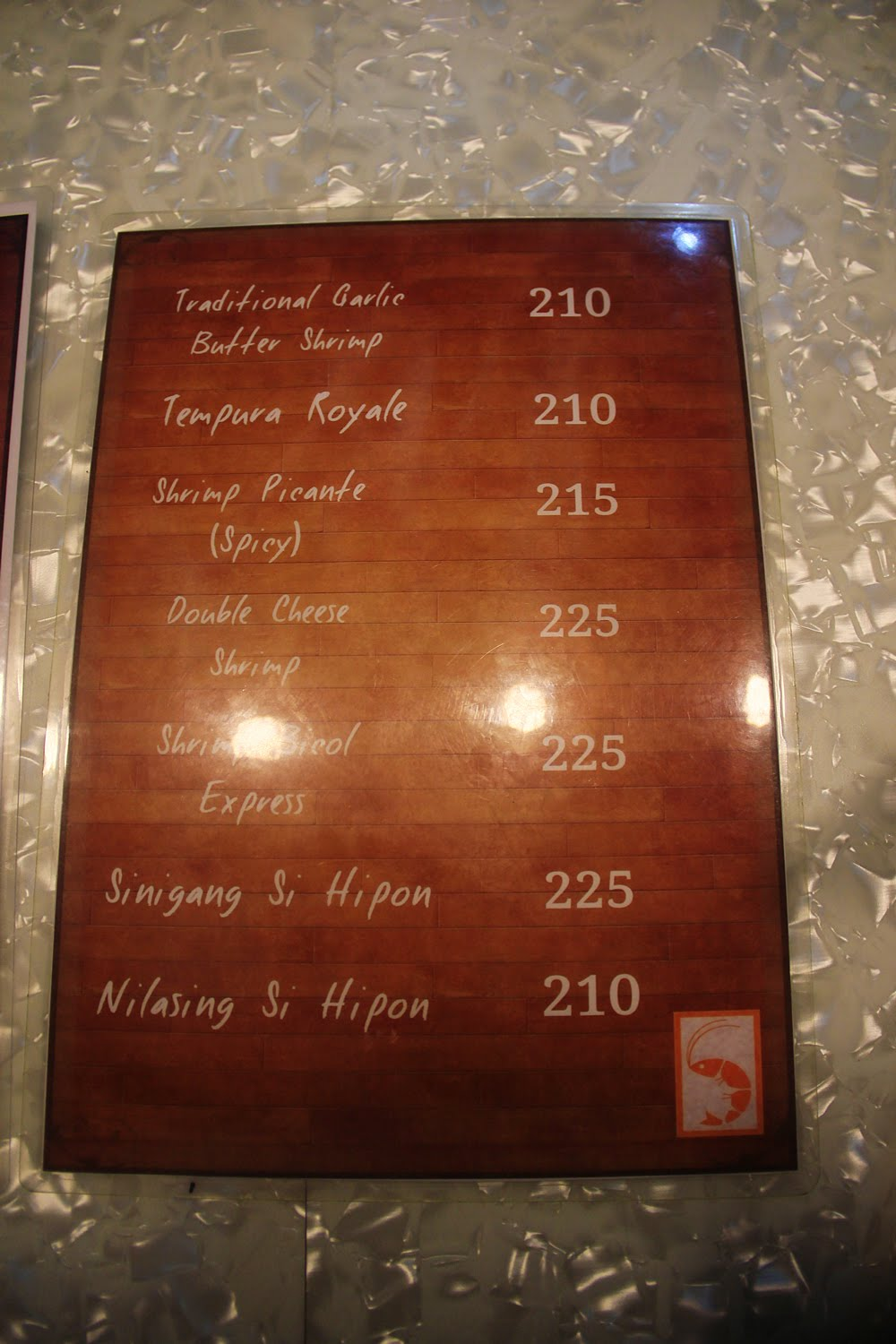 Shrimpkets Menu