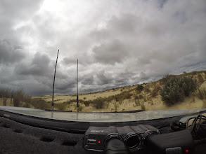 Photo: tracking our way out across the dunes