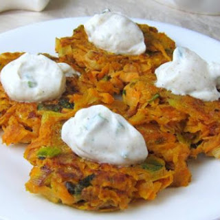 Sweet Potato Latkes with Cumin-Garlic Yogurt Topping