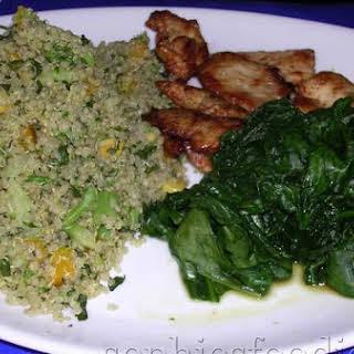 Sophie's Cold Quinoa & Broccoli, Croun, Yellow Bell Pepper & Parsley Salad.