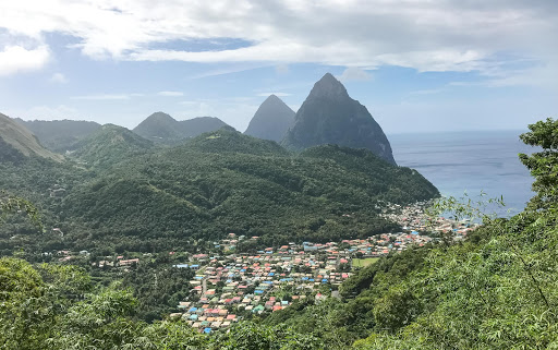 st-lucia-pitons-and-town.jpg - The town of Soufriere, which sits at the foot of the Pitons in St Lucia.