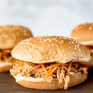 Slow cooker Asian chicken sandwiches with pickled carrot slaw.