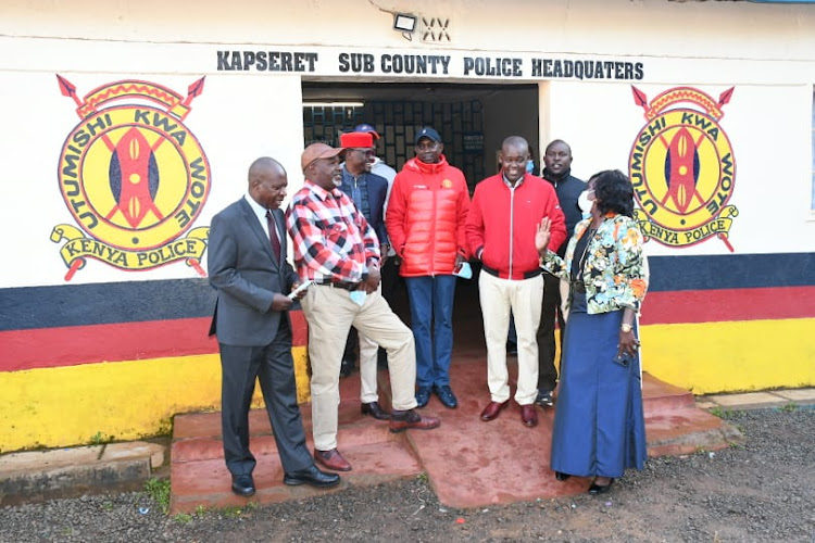 Kapseret MP Oscar Sudi (C) at Langas police station where he surrendered on Sunday, September 13. With him are Aldai MP Cornel Serem (L), Soy MP Caleb Kositany, former Uasin Gishu assembly Speaker Isaac Terer and Woman Representative Gladys Shollei.