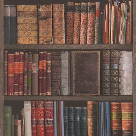 Tapet med böcker - bibliotekskänsla bokhylla