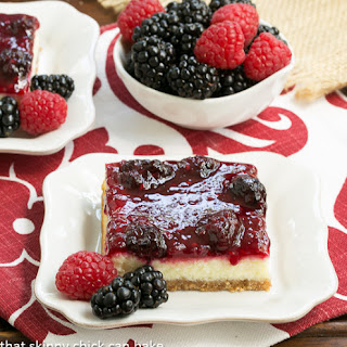 Berry Topped Cheesecake Bars #TwoSweetiePies