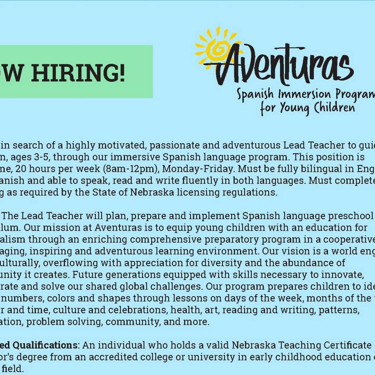 Aventuras Spanish Immersion Program For Young Children Preschool