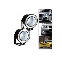Set 2 proiectoare auto cu LED Angel Eyes, 76 mm, lumina alba