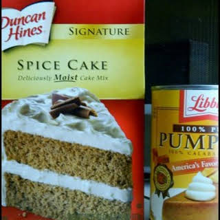 Two Ingredient Cake–Spice Cake Mix and Pumpkin Puree.