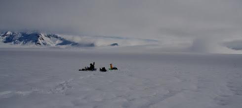 Photo: Above 1000 m on Seward Glacier.Day 7.