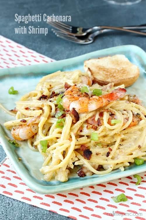 """Shrimp Spaghetti Carbonara""""Simply divine Shrimp Spaghetti Carbonara is light and tasty with..."""