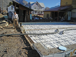 Photo: Loren waiting for the floor pour to start. We are pushing our luck for concrete on Nov 16--way late in the season.