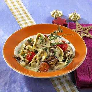 Tortellini with Creamy Mushroom Sauce.