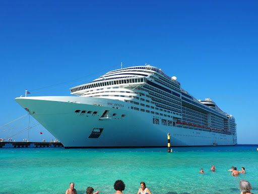 The MSC Divina is a beautiful ship.  Here shown docked in Grand Turk.  On this day we were the only cruise ship in port.