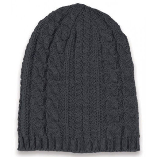 Long knitted beanie hat - natural