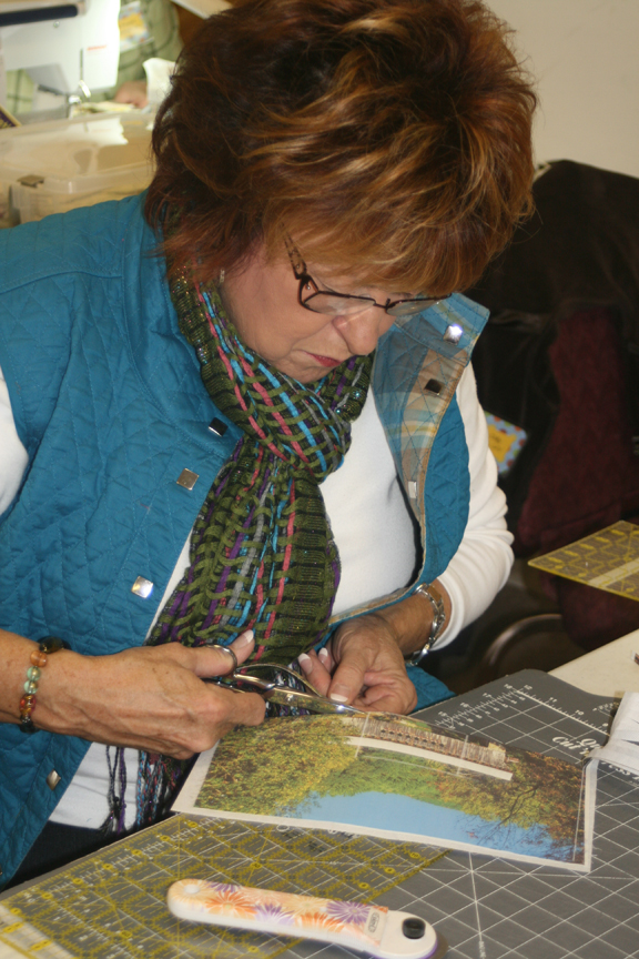 Photo: Cutting strips to weave.