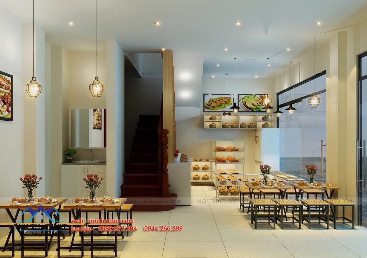 thiết kế quán ăn nhanh trẻ trung, đẹp mắt