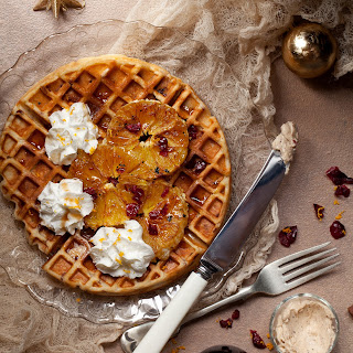 Cranberry Orange Waffles with Cinnamon Whipped Butter.