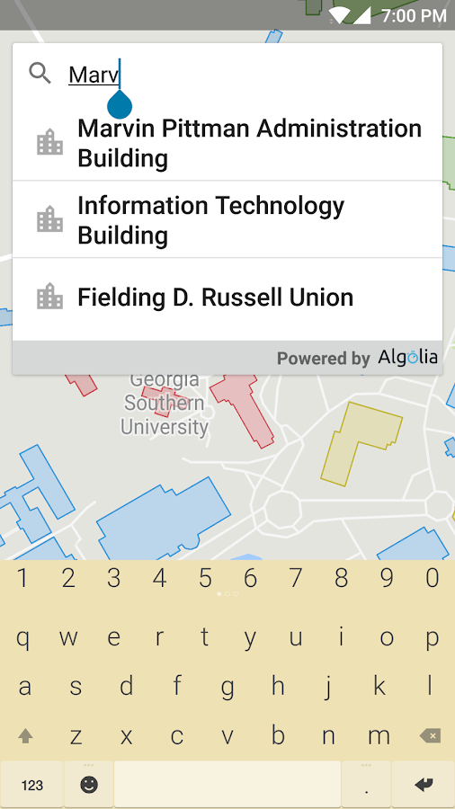 Georgia Southern Campus Map- screenshot