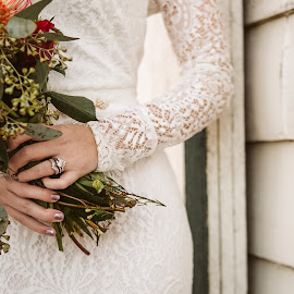 All in the Details by Kate Gansneder - Wedding Details ( bride, flowers, wedding ring, bouquet, wedding, lace dress )