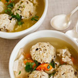 Chicken Soup with Shallot-Shiitake Matzo Balls