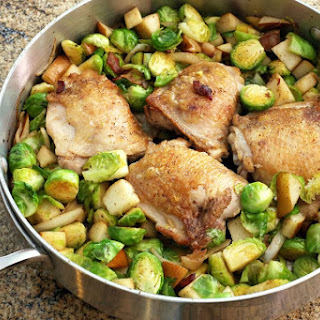 Roasted Chicken Thighs with Brussels Sprouts and Pears Recipe