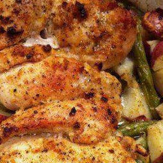 Garlic and Lemon Chicken with Green Beans and Red Potatoes.