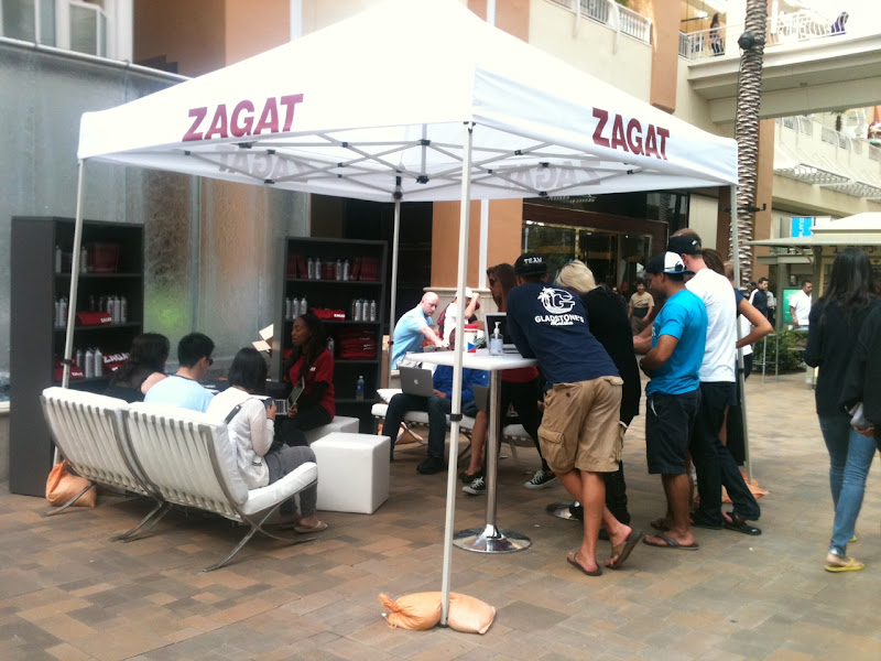 Photo: Voters sharing their opinions in our Zagat lounge at the Fashion Valley Shopping Center