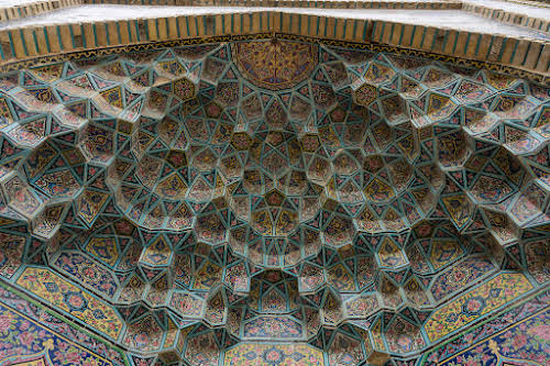 Things to Do in Iran Travel Guide Itinerary // Ceiling in Nasir al-Mulk Mosque, Shiraz