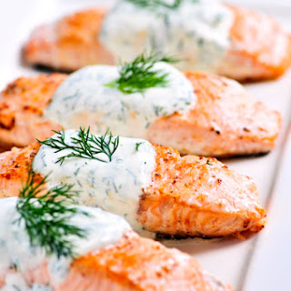 Baked Salmon with Creamy Dill Sauce.