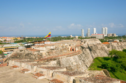 Castillo-against-Cartagena-skyline.jpg - Castillo San Felipe de Barajas with Cartagena  in the background.