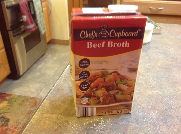 Now add the beef broth, Au Jus and stir to blend. Add the cold...