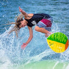 Flying Skimmer by Lawayne Kimbro - Sports & Fitness Surfing ( skimboard, outbanks, obx, nc, lawayne, wave, pro, skimboarding, ocean, professional, north carolina, competition, skim,  )