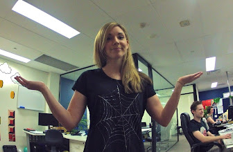 Photo: Jona is less than impressed with Mary's geek shirt this week!