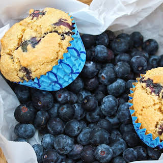 Fluffy Vegan Blueberry Vanilla Muffins.