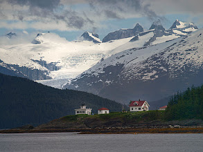 Photo: Point Retreat Lighthouse With Eagle Glacier in the Background