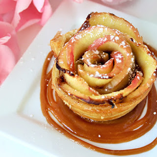 Apple Roses with Vanilla Caramel Cream Sauce
