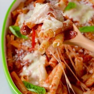 Cheesy Baked Ziti with Sausage and Peppers.