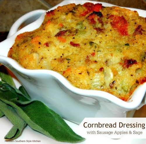 "Cornbread Dressing With Sausage Apples And Sage ""This cornbread dressing recipe can..."