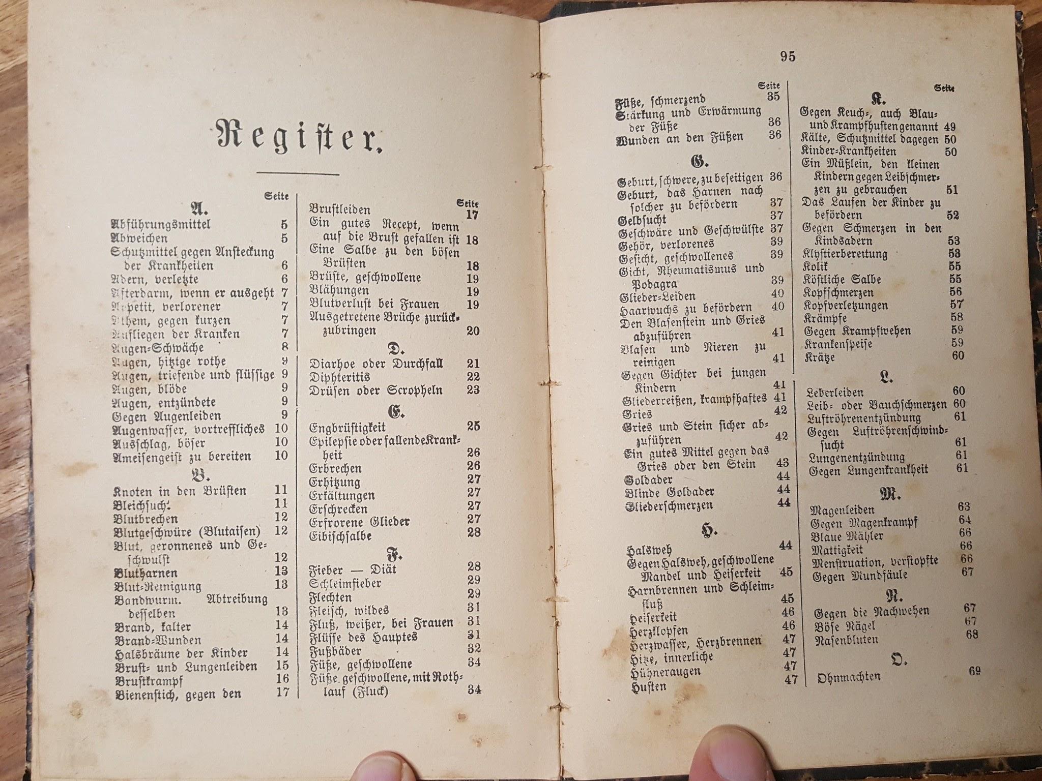 Der Arzt als Hausfreund, ein Deutsches Rezeptbuch mit 700 Hausarzneimitteln zu fast allen vorkommenden Krankheiten der Menschen.