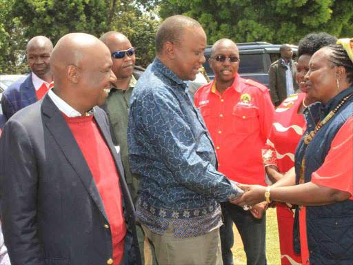 Baringo Senator Gideon Moi with President Uhuru Kenyatta during a Jubilee Party rally in Kabartonjo, Baringo North sub-County, July 11, 2017.