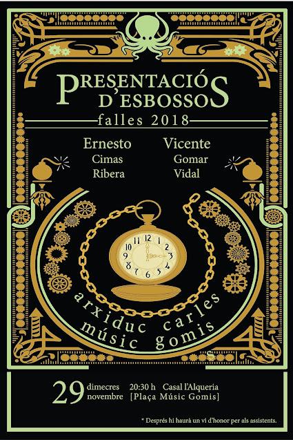 Presentació Esbossos Falles 2018 en Arxiduc Carles - Músic Gomis