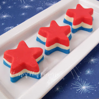 4th of July Dessert - Red, White, and Blue Fudge Stars