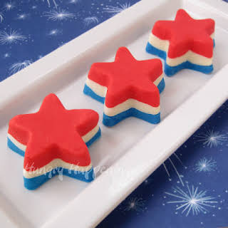 4th of July Dessert - Red, White, and Blue Fudge Stars.