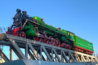 Photo: Soviet Era Locomotive on permanent display just down the street from the Kiev Central Railroad Station.