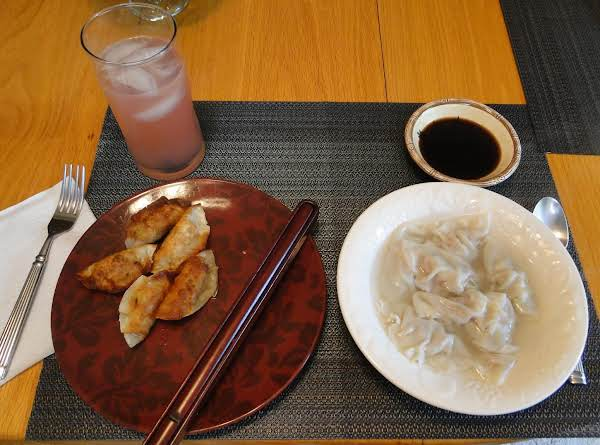 Authentic Chinese Fried Pot Sticker Jiaozi And Boiled Jiaozi Made The Same Way, But Cooked Differently.
