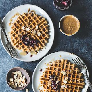 Gluten-Free Kefir Waffles with Almond Butter & Jam